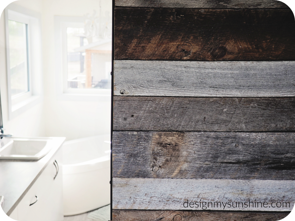 Decor finds, bathroom, white, barn door, barn wood, gray