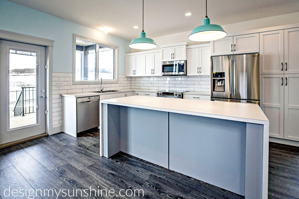 paint, home color palette, white, kitchen, lighting, grey, gray, barn light, blue wall, black, white cabinets, countertop