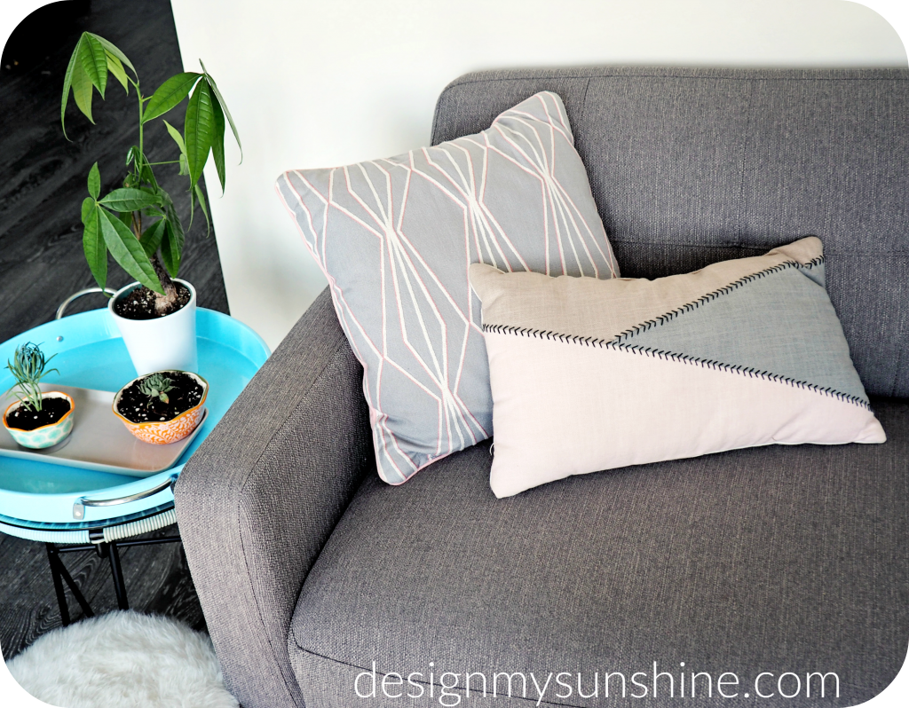 Walmart decor, pillows, grey, couch, indoor plants, pots, planters
