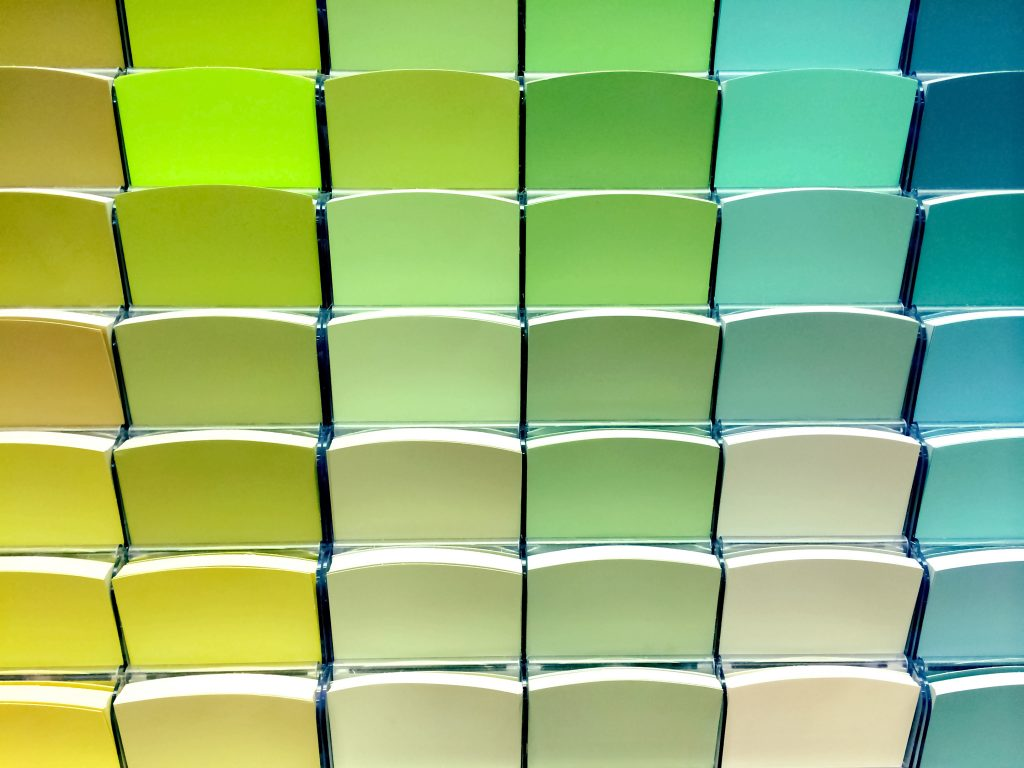 paint, palette, swatches, blue, yellow, green, picking color, accent, neutral,