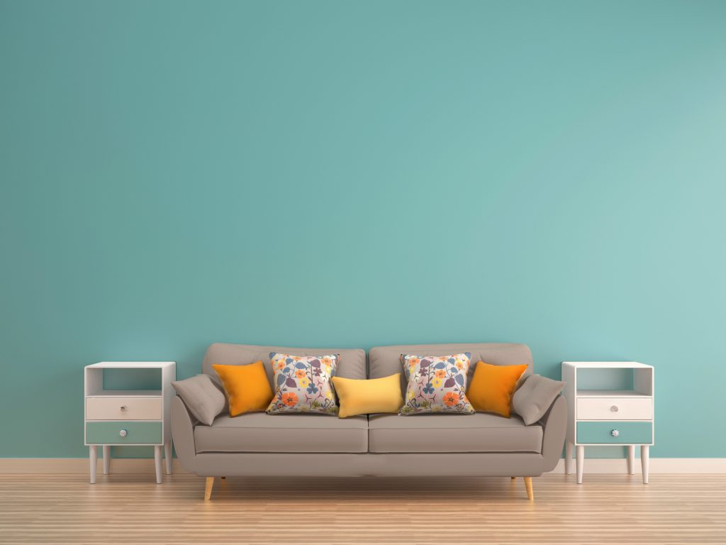 how to design a happier home, teal, couch, simple, organize, simplify
