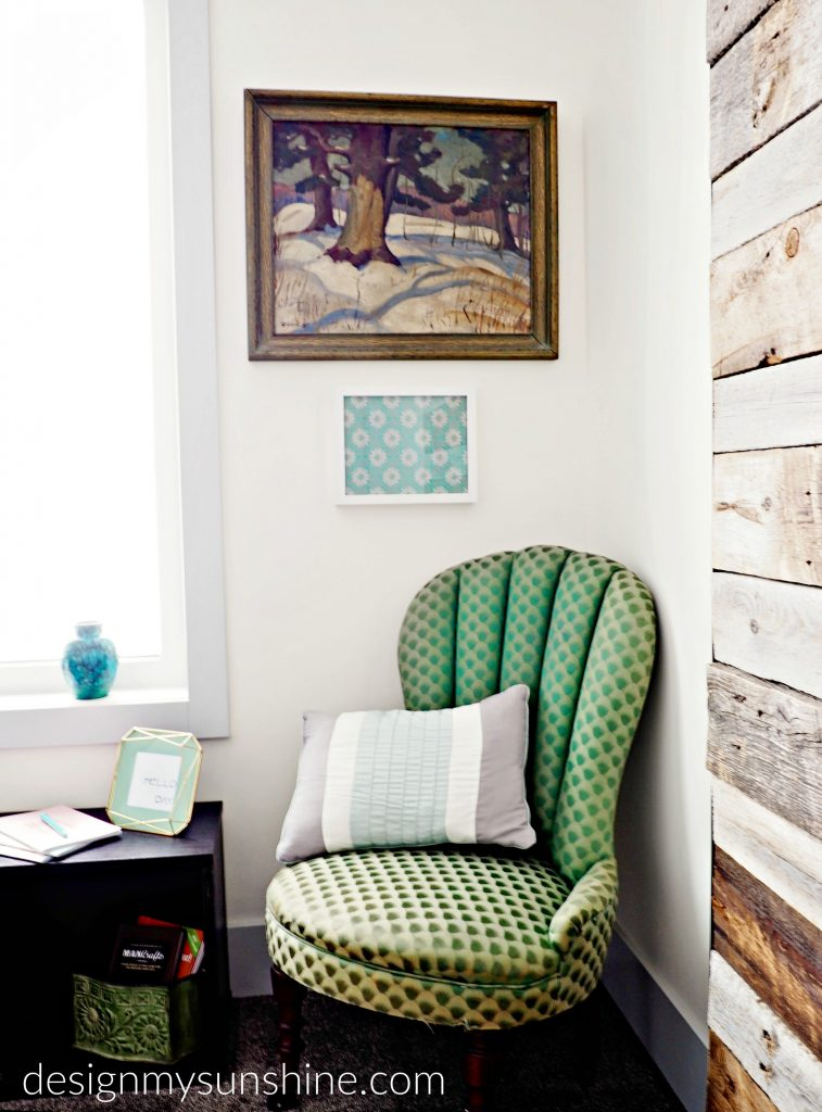 Antique, eclectic, farmhouse, modern, green, blue, white, decor, accent chair