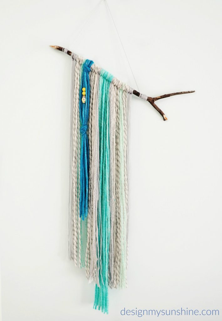 DIY, DIY yarn wall hanging, modern farmhouse, DIY, Blue, art, Gray, Bohemian